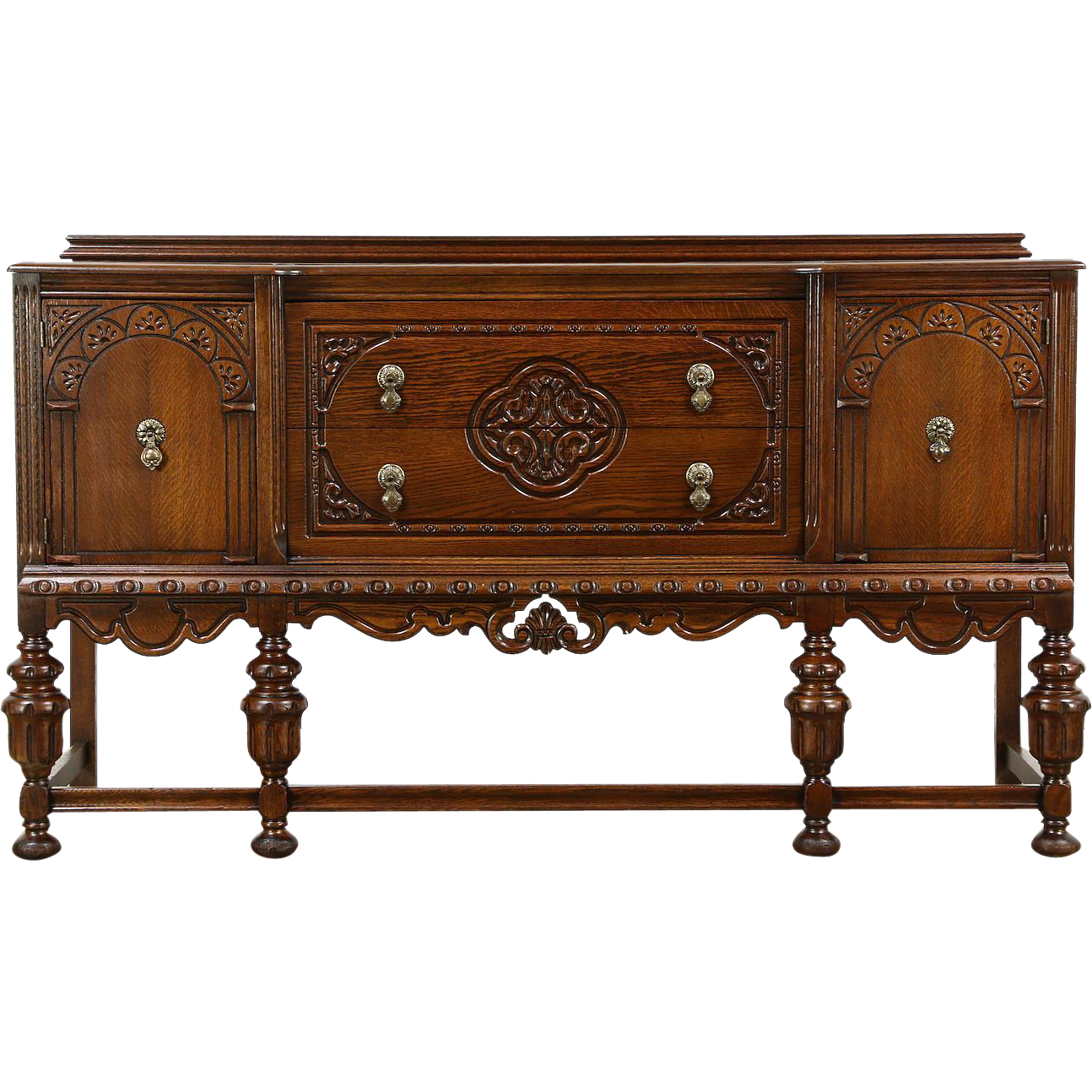 tudor design 1925 antique carved oak sideboard server or buffet from harpgallery on ruby lane. Black Bedroom Furniture Sets. Home Design Ideas