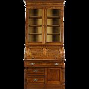 Victorian Eastlake 1885 Antique Walnut Roll Top Secretary Desk & Bookcase