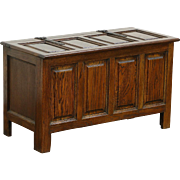 Oak 1900 Antique Trunk or Blanket Chest, Raised Panels, Wrought Iron Hinges