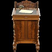Davenport or Ship Captain Desk, 1875 Antique Signed Mudge, OH