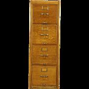 Oak Quarter Sawn 4 Drawer 1915 Antique File Cabinet, Signed Library Bureau