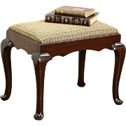 Georgian Design 1930's Vintage Mahogany Bench or Stool, New Upholstery