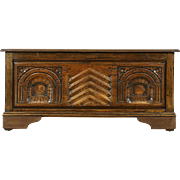 Oak Dutch 1900 Hand Carved Trunk, Window Bench or Blanket Chest