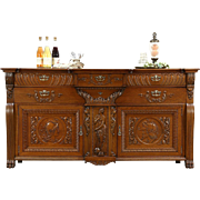 Oak 1890 Antique Back Bar, Sideboard, Server or Buffet, Carved Classical Figures