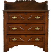 Victorian 1875 Antique Walnut Small Chest, Nightstand, Vessel Sink Vanity
