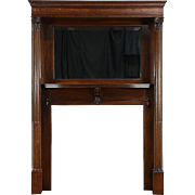 Oak 1895 Antique Architectural Salvage Fireplace Mantel, Beveled Mirror, Columns