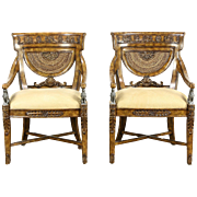 Maitland Smith Signed Pair of Carved Classical Chairs, Griffin Sculptures