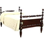 New England 1830's New England Antique Rope Poster Bed, Converted to Full Size
