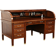 Mahogany 1900 Antique 6' Roll Top Desk, Signed West of Milwaukee, Brass Mounts