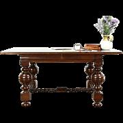 Dutch 1890 Antique Oak Renaissance Partner Desk or Library Writing Table