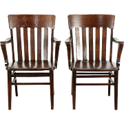 Pair of Quarter Sawn Oak 1910 Antique Banker, Office or Library Chairs with Arms
