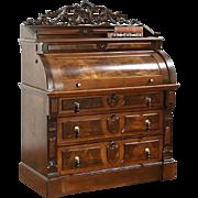Victorian 1870 Antique Cylinder or Barrel Roll Top Library Desk, Walnut & Burl