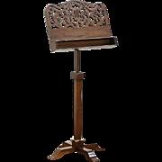 Lyre Carved Vintage Adjustable Walnut Music Stand, Brass Mounts