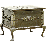 Wrought Iron 1900 Antique Treasure Chest or Box with Handles