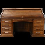 Oak Quarter Sawn Antique 1895 Roll Top Desk, Raised Panels