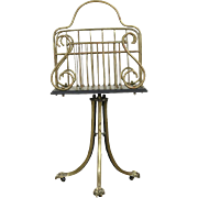 Brass 1900 Antique English Magazine Rack or Lyre Motif Music Caddy or Stand
