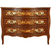 Marquetry Inlaid Vintage Mahogany & Satinwood Chest, Dresser or Commode, Italy