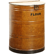 Flour Drum or Bin, 1900 Antique Faux Wood Grained Steel Barrel, England