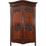 French Style Hand Carved Mahogany Vintage Armoire, Wardrobe or Closet