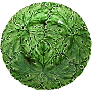 Majolica Antique Green Leaf Footed Cake Stand or Serving Plate, Czech
