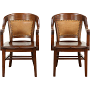Pair Antique Banker Library or Office Chairs, Leather, Signed Northwestern