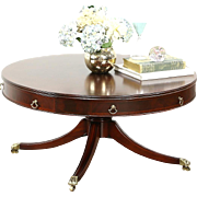 Traditional Drum Style Pedestal Coffee Table, 1950's Vintage, Brass Feet