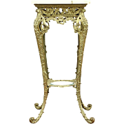 Onyx & Brass Victorian 1890 Antique Sculpture Pedestal or Plant Stand
