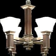 Craftsman Design Contemporary Nickel Chandelier, Etched Glass Shades