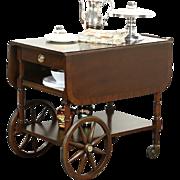 Baker Signed Vintage Tea and Dessert Cart or Beverage Trolley, Banded Mahogany