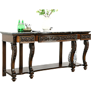 Renaissance Carved 7' Antique Sideboard, Server or Console, Black Marble Top