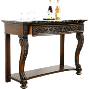 """Renaissance Carved 52"""" Antique Sideboard, Server or Console, Black Marble Top"""