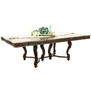 """Renaissance Carved 1920's Walnut Antique Dining Table, 4 Leaves, Extends 10' 2"""""""