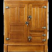 Maple 1900 Antique Kitchen Pantry Icebox, Original Brass Hardware