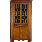 Walnut Antique 1850's Ohio Corner Cupboard or Cabinet, Wavy Glass Panes