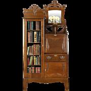 Victorian Oak 1900 Antique Side by Side Secretary Desk & Bookcase
