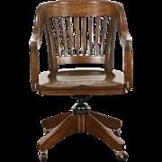 Oak Quarter Sawn 1915 Antique Swivel Adjustable Desk Chair, Signed Marble