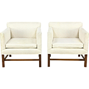 Pair Kittinger Signed Vintage Chairs with Arms, Original Upholstery