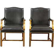 Pair of Vintage Leather Office or Library Chairs with Arms, Signed Taylor