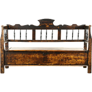 Country Pine 1840 Antique Primitive Bench, Settee or Settle, Lift Seat Storage