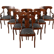 Set of 8 Empire 1930 Vintage Dining Chairs, Cherry & Mahogany, New Upholstery