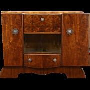 Art Deco English Walnut 1940 Vintage Bar Cabinet