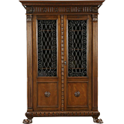 Italian Carved Walnut Antique 1900 Bookcase, Iron Grill & Glass Doors