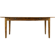 Oak 1915 Antique Library or Harvest Dining Table, 2 Drawers