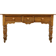 Country Pine 1860's Antique English Sofa Table or Hall Console