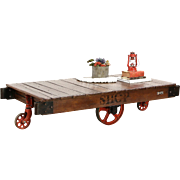 Industrial Salvage 1930's Vintage Factory Cart, Trolley or Coffee Table
