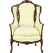 Carved 1940's Vintage Music & Lady Heads Motif Chair, Down Cushion
