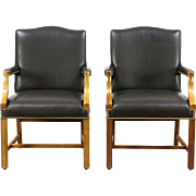Pair of Leather Vintage Office or Library Chairs with Arms, Signed Taylor
