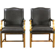 Pair of Leather Office or Library Chairs with Arms, Signed Taylor, Vintage