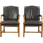 Pair of Vintage Leather Library or Office Chairs with Arms, Signed Taylor