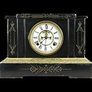 Ansonia NY Signed Antique Victorian Iron Clock, Open Escapement Pat. 1882